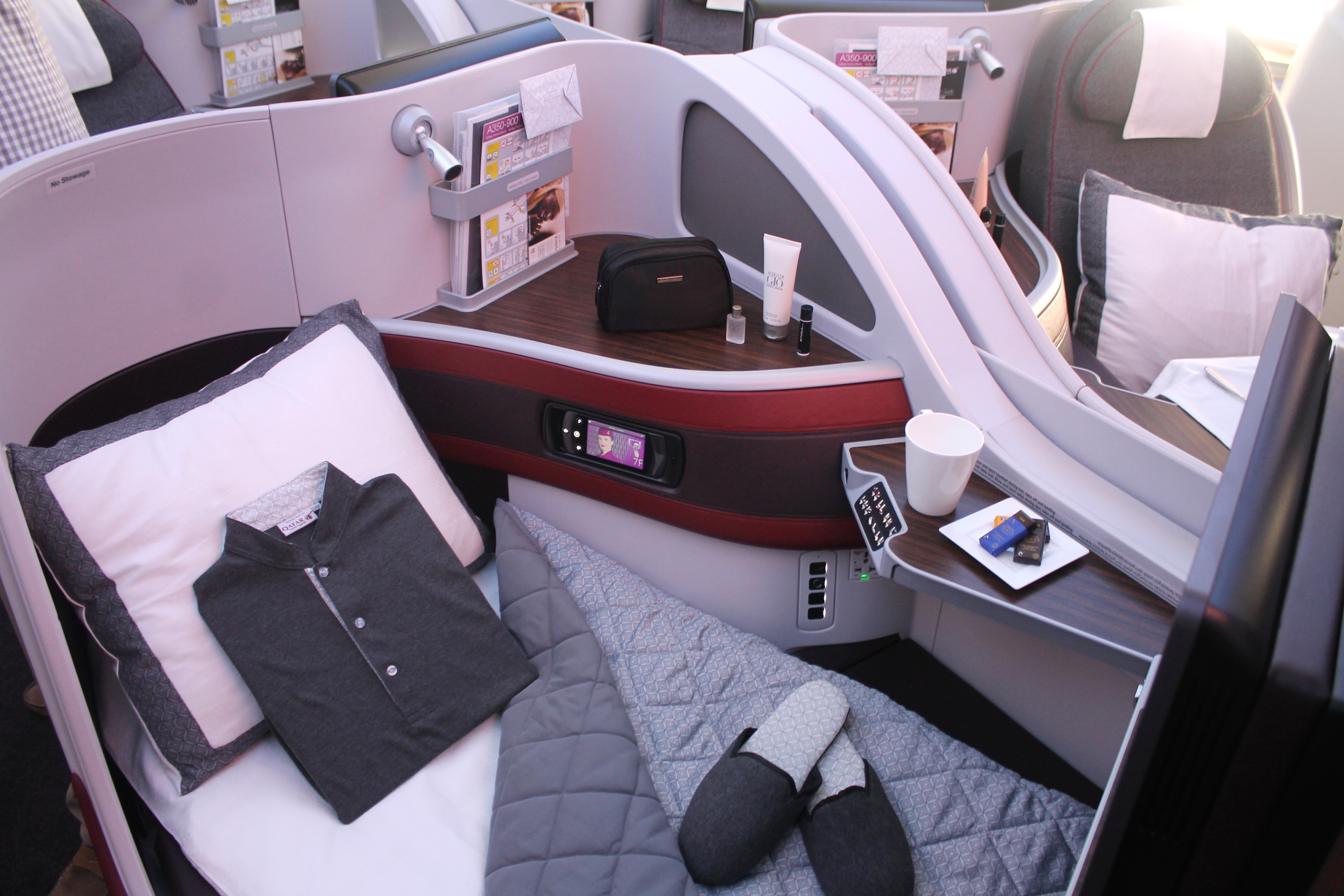 sleeping clothes for passengers on board in Qatar Airways